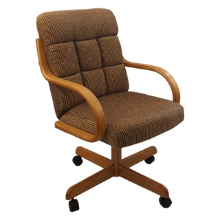 Caster Chair Company C118 Arlington Swivel Tilt Caster Arm Chair Caramel Tweed Fabric