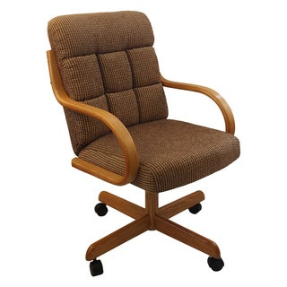Caster Chair Company C118 Arlington Swivel Tilt Caster Arm Chair Caramel Tweed Fabric