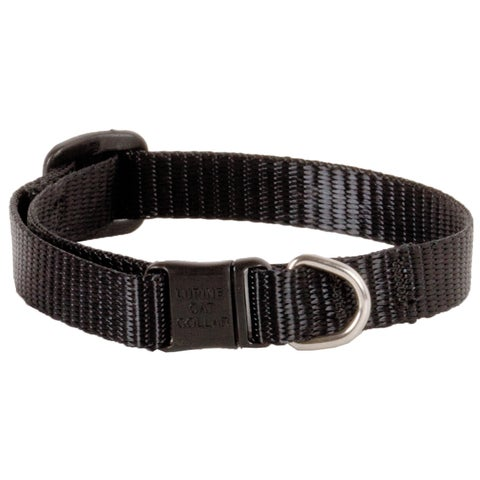 "Lupine Collars & Leads 1/2"" X 8""-12"" Adjustable Black Safety Cat Collar"