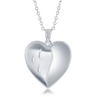 "La Preciosa Silver Diamond Cut Laser Design Dripping Tears Ashes Cremation Urn Locket 18"" Necklace"