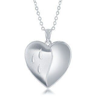 "La Preciosa Silver Diamond Cut Laser Design Dripping Tears Ashes Cremation Urn Locket 18"" Necklace"