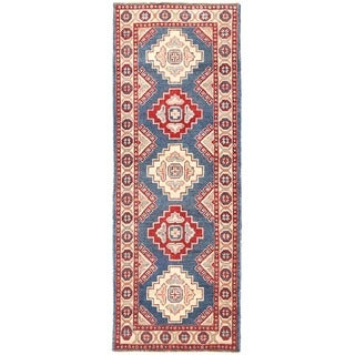 Herat Oriental Afghan Hand-knotted Vegetable Dye Kazak Wool Runner (2' x 5'8)