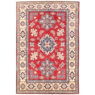 Handmade Vegetable Dye Kazak Wool Rug (Afghanistan) - 5' x 7'3