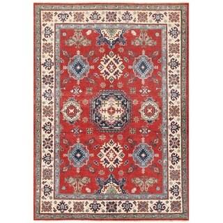 Herat Oriental Afghan Hand-knotted Vegetable Dye Kazak Wool Rug (4'10 x 6'11)