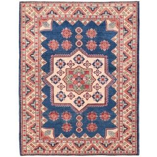 Herat Oriental Afghan Hand-knotted Vegetable Dye Kazak Wool Rug (5' x 6'6)