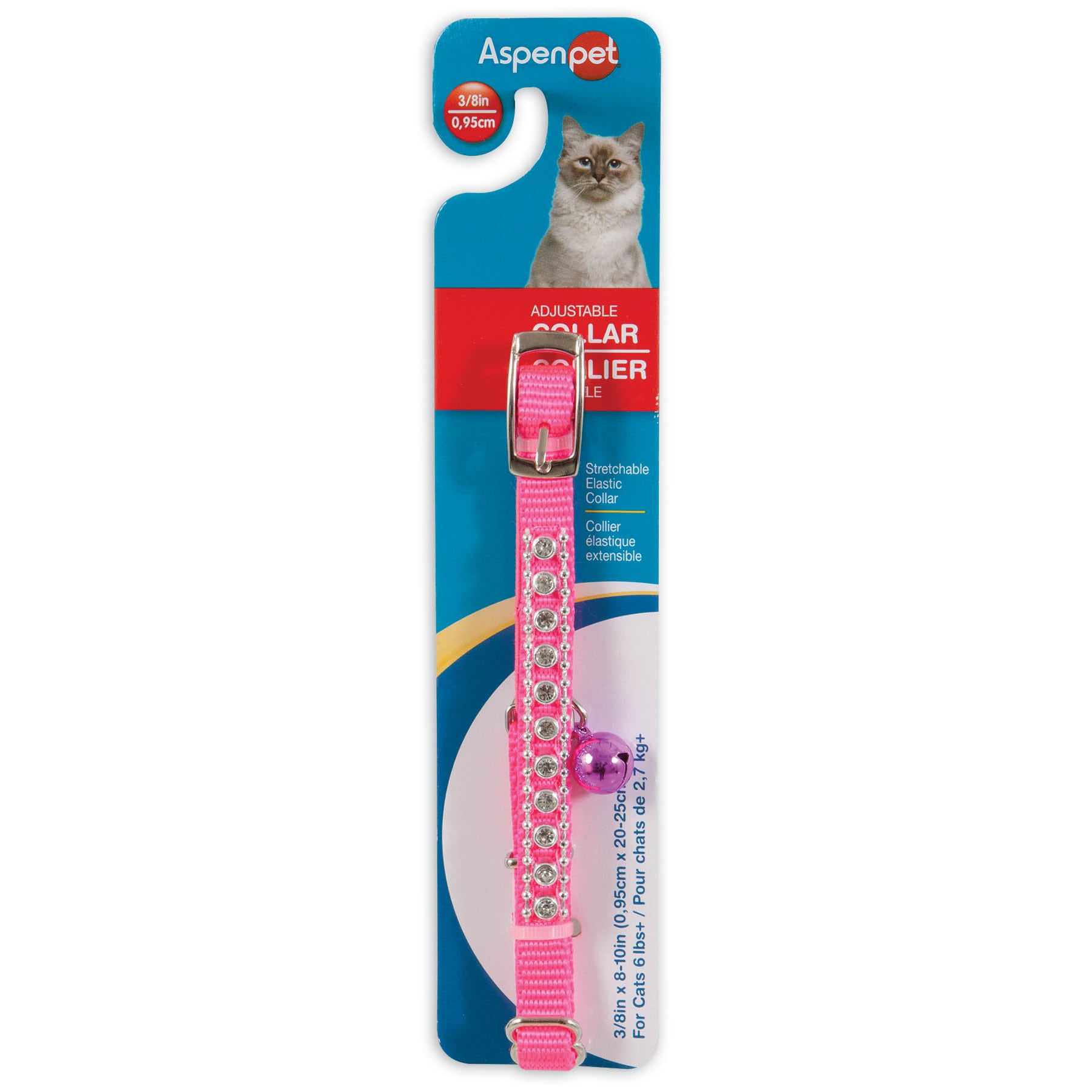 "Petmate 3/8"" X 8"" Hot Pink Cat Collar (3/8''), Silver"