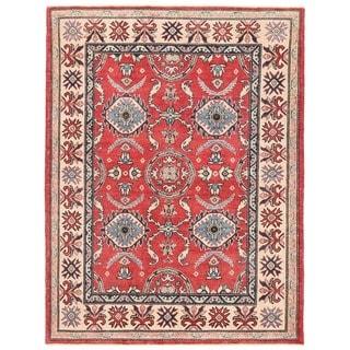 Herat Oriental Afghan Hand-knotted Vegetable Dye Kazak Wool Rug (4'10 x 6'5)