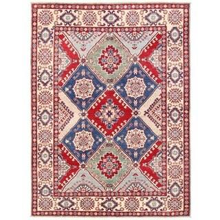 Herat Oriental Afghan Hand-knotted Vegetable Dye Kazak Wool Rug (4'9 x 6'6)
