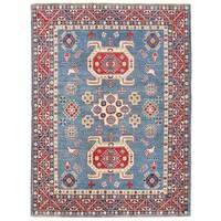 Herat Oriental Afghan Hand-knotted Vegetable Dye Kazak Wool Rug (4'9 x 6'5)