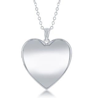 """La Preciosa Silver Reversible Heart Ashes Cremation Locket 18"""" Necklace"""