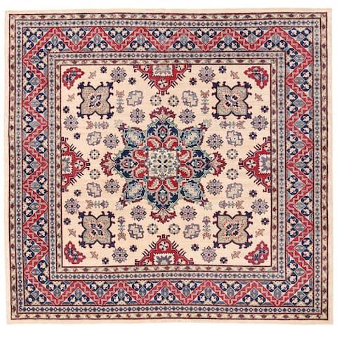 Handmade One-of-a-Kind Vegetable Dye Kazak Wool Rug (Afghanistan) - 8'1 x 7'9