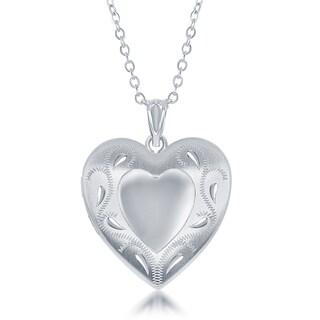 """La Preciosa Sterling Diamond Cut Laser Design Heart w/ Swirl Ashes Cremation Locket 18"""" Necklace - Silver"""