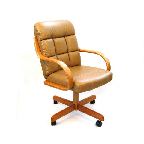 Caster Chair Company C118 Ashtyn Swivel Tilt Caster Arm Chair in Buff Bonded Leather