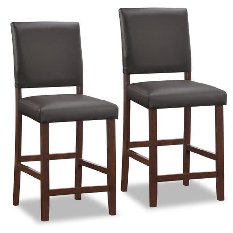 KD Furnishings Brown Wood and Black Faux Leather Upholstered Counter-height Stool (Set of 2)