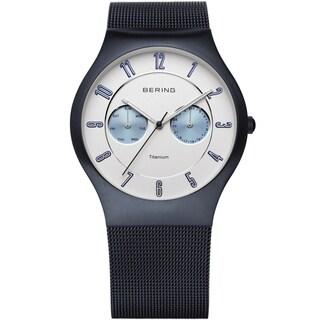 Bering Men's Chronograph Blue Titanium Milanese Mesh Watch 11939-394