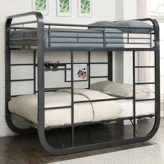 Furniture of America Ulsa Contemporary Convertible Metal Full over Full Loft Bed with Workstation