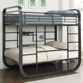 furniture of america ulsa convertible metal full over full loft bed with workstation