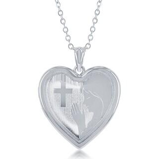 "La Preciosa Silver Diamond Cut Laser Design Virgin Mary Ashes Creamation Locket 18"" Necklace"