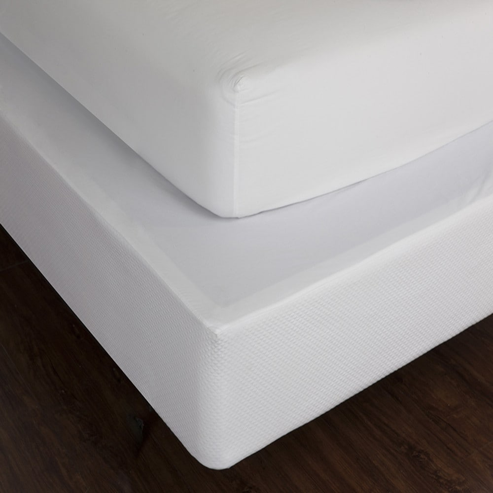 textured linen box-spring cover