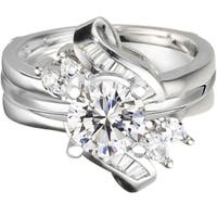 Sterling Silver 1 1/2ct TW Round Cubic Zirconia Solitaire Ring