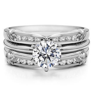 Sterling Silver 1 1/3ct TW Round Cubic Zirconia Solitaire Guard