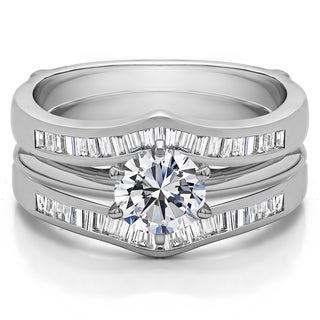 Sterling Silver 1 1/2ct TW Round Cubic Zirconia Solitaire Ring Guard