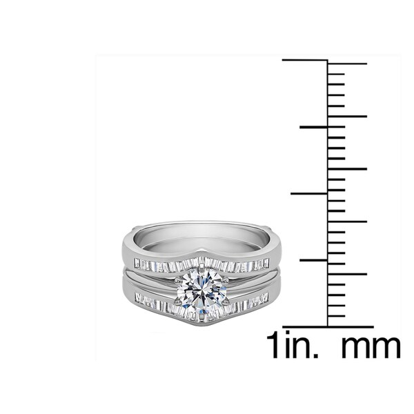 1 1//2 ct.tw Cubic Zirconia Solitaire with Baguette Accents Ring Sterling Silver
