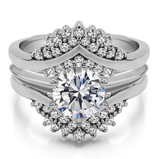 Sterling Silver 1 1/2ct TW Round-cut Stone Cubic Zirconia Solitaire Ring