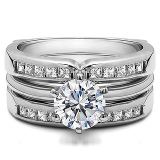 Sterling Silver 1 3/5ct TW Round Cubic Zirconia Solitaire Ring Guard