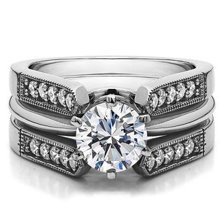 Sterling Silver 1 2/5ct TGW Round Cubic Zirconia Solitaire Guard