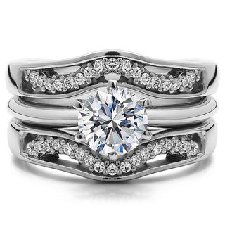 Sterling Silver 1 1/4ct TGW Round Cubic Zirconia Solitaire Guard Ring