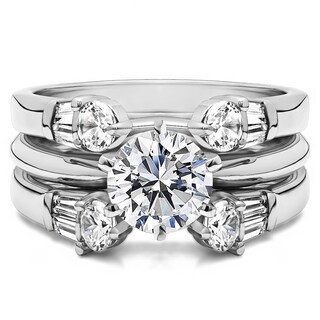 Sterling Silver 1 7/8ct TW Round Cubic Zirconia Solitaire Guard