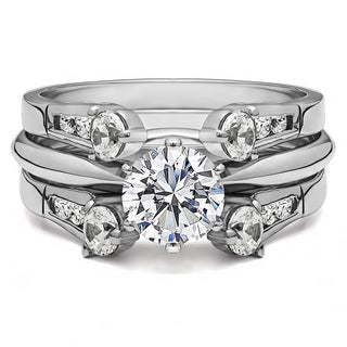 Sterling Silver 1 3/4ct TGW Round Cubic Zirconia Solitaire Ring