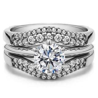 Sterling Silver 1ct TW Round Cubic Zirconia Solitaire Wedding Ring