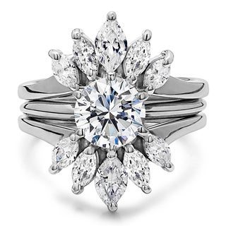 Sterling Silver 2 7/8ct TW Round Cubic Zirconia Solitaire Ring Guard