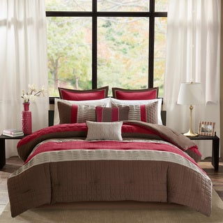 Madison Park Regina Red Quilted 8 Piece Comforter Set