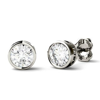 Charles & Colvard 14k Gold 1ct DEW Round Forever One Colorless Moissanite Bezel Solitaire Stud Earrings (2 options available)