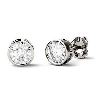 Charles & Colvard 14k Gold 1ct DEW Round Forever One Colorless Moissanite Bezel Solitaire Stud Earrings
