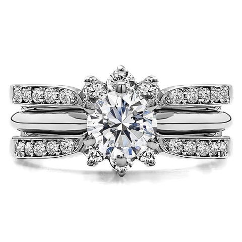 Sterling Silver 1 3/5ct TW Round Cubic Zirconia Solitaire Ring Guard Set (Two Rings)
