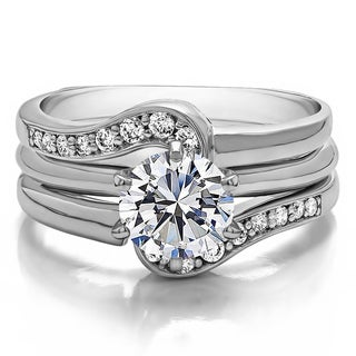 Sterling Silver 1 1/4ct TW Round Cubic Zirconia Solitaire Ring
