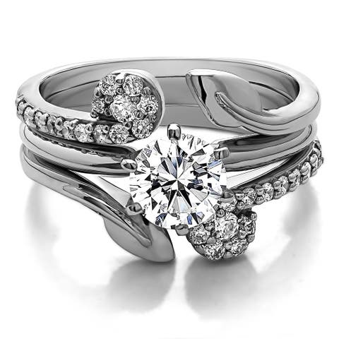 Sterling Silver 1 2/5ct TW Round Cubic Zirconia Solitaire and Matching Ring Guard
