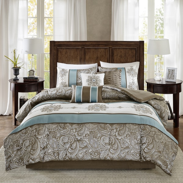 Madison Park Lorraine Blue Jacquard 7-Piece Comforter Set