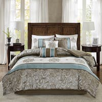 Madison Park Lorraine Blue Jacquard 7-Piece Comforter Set