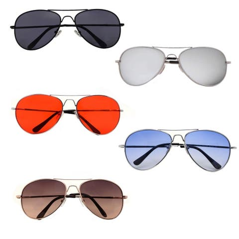 Metal Classic Aviator Color Lens Sunglasses Large Size P482
