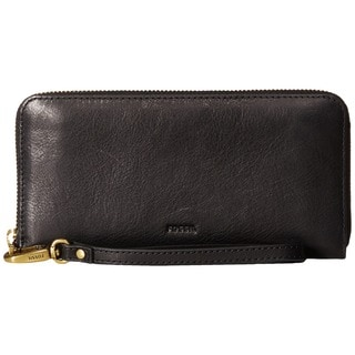 Fossil Emma Black Leather RFID Large Zip Clutch Wallet