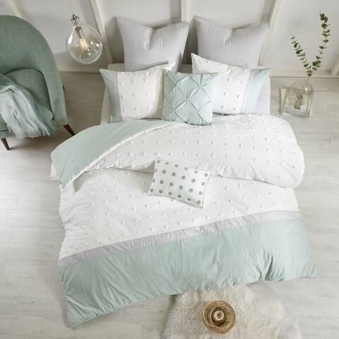 Urban Habitat Jojo Ivory 7 Piece Cotton Jacquard Duvet Cover Set