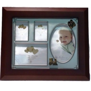 Elegance Baby Collage Photo Frame-Wood Pewter