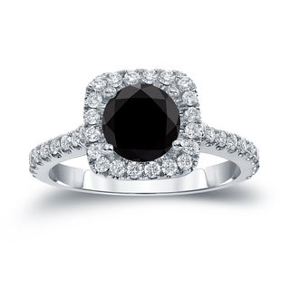 Auriya 14k Gold 1 2/5ct TDW  Round Cut Diamond Halo Engagement Ring (Black SI1-SI2)