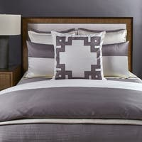 Ann Gish Ivory and Taupe Motif 3-Piece Duvet Set