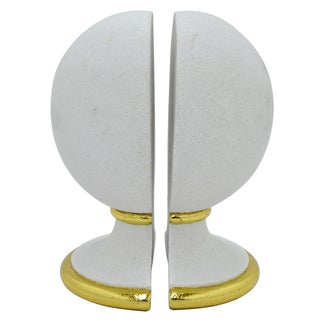 Three Hands White and Gold-tone Resin Sphere Bookends